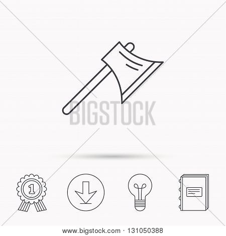 Axe icon. Worker equipment sign. Steel weapon symbol. Download arrow, lamp, learn book and award medal icons.