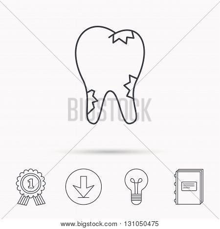 Caries icon. Tooth health sign. Download arrow, lamp, learn book and award medal icons.