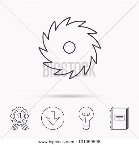 Circular saw icon. Cutting disk sign. Woodworking sawblade symbol. Download arrow, lamp, learn book and award medal icons.