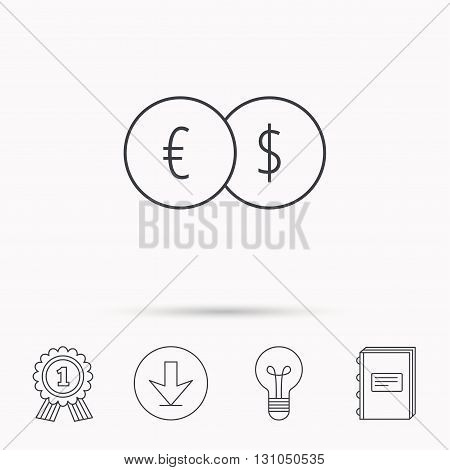 Currency exchange icon. Banking transfer sign. Euro to Dollar symbol. Download arrow, lamp, learn book and award medal icons.