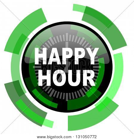 happy hour icon, green modern design glossy round button, web and mobile app design illustration