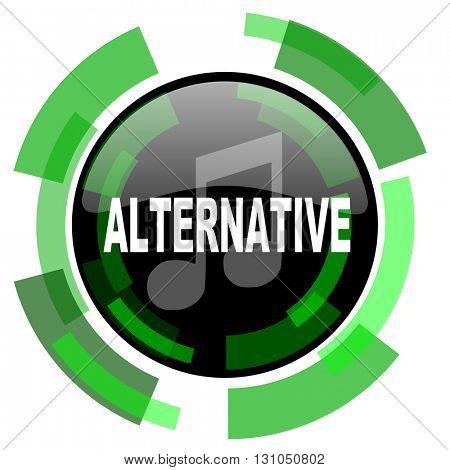 alternative music icon, green modern design glossy round button, web and mobile app design illustration