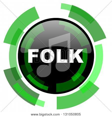 folk music icon, green modern design glossy round button, web and mobile app design illustration