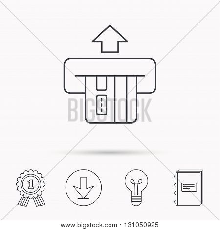 Insert credit card icon. Shopping sign. Bank ATM symbol. Download arrow, lamp, learn book and award medal icons.