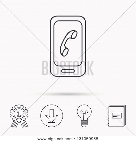 Smartphone icon. Cellphone with touchscreen sign. Download arrow, lamp, learn book and award medal icons.
