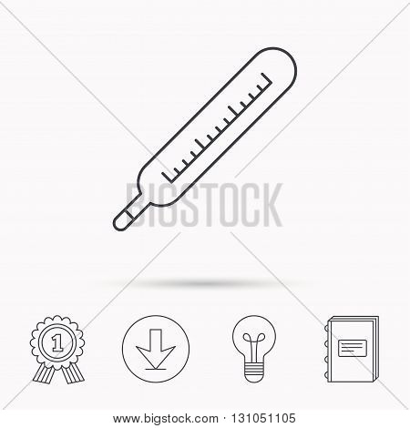 Medical thermometer icon. Temperature measurement sign. Health diagnostic symbol. Download arrow, lamp, learn book and award medal icons.