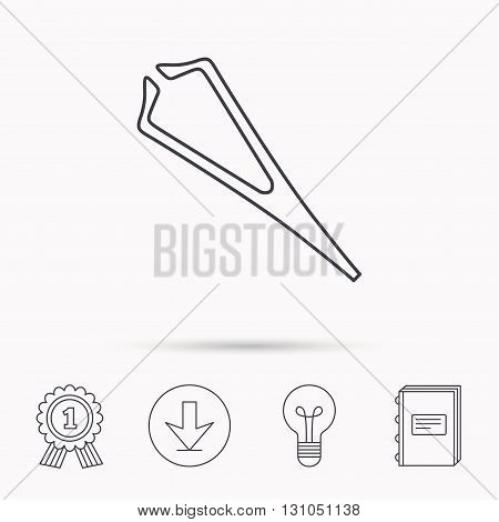 Medical tweezers icon. Cosmetic equipment sign. Download arrow, lamp, learn book and award medal icons.