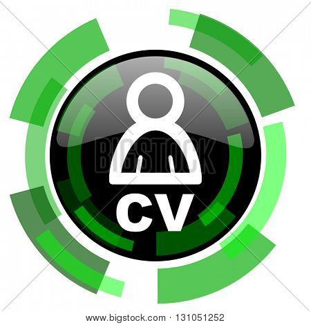 cv icon, green modern design glossy round button, web and mobile app design illustration