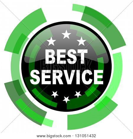 best service icon, green modern design glossy round button, web and mobile app design illustration