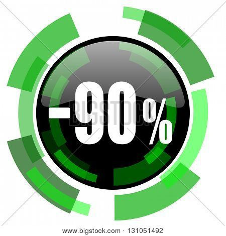 90 percent sale retail icon, green modern design glossy round button, web and mobile app design illustration