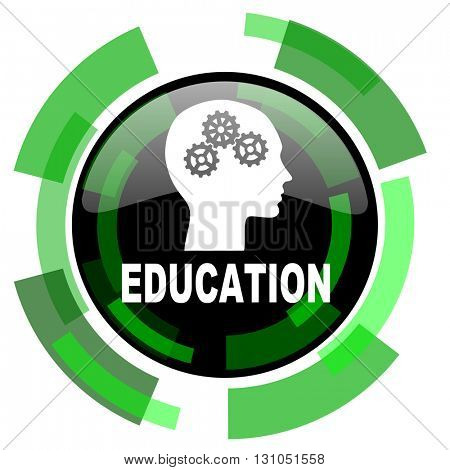 education icon, green modern design glossy round button, web and mobile app design illustration