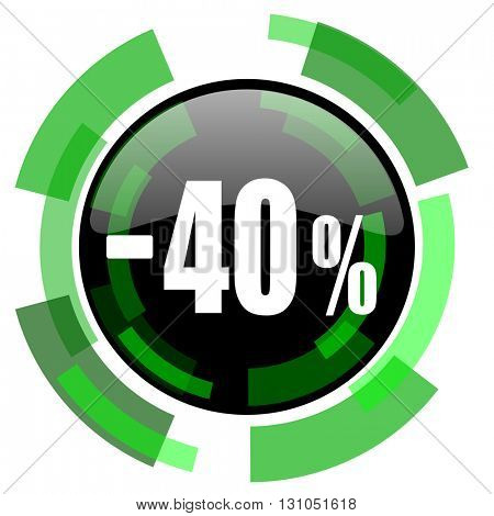 40 percent sale retail icon, green modern design glossy round button, web and mobile app design illustration