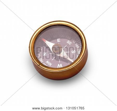 old compass cut out on white background