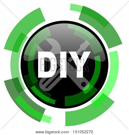 diy icon, green modern design glossy round button, web and mobile app design illustration