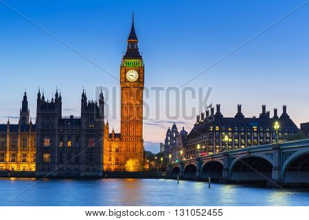 Big Ben and Westminster Bridge in London at night, UK
