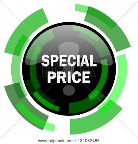 special price icon, green modern design glossy round button, web and mobile app design illustration