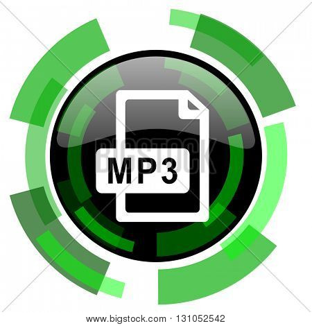 mp3 file icon, green modern design glossy round button, web and mobile app design illustration