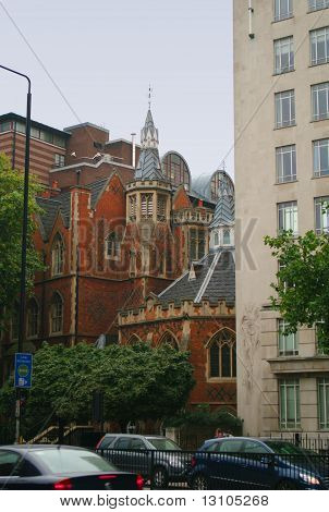 Small Ancient Church In Street In London