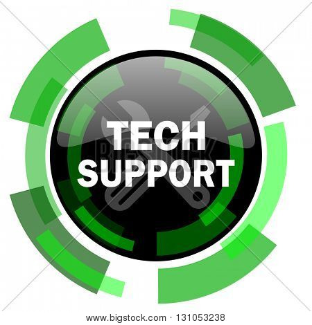 technical support icon, green modern design glossy round button, web and mobile app design illustration