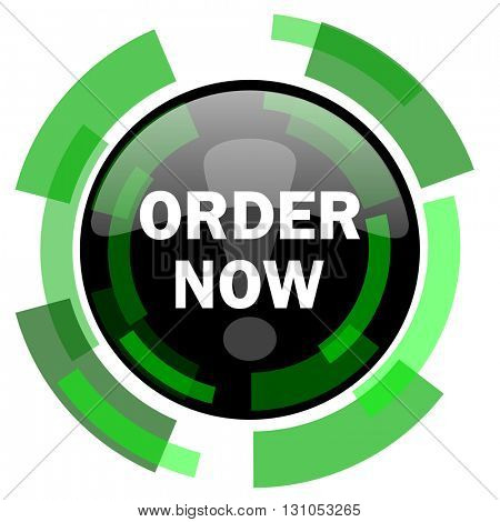 order now icon, green modern design glossy round button, web and mobile app design illustration