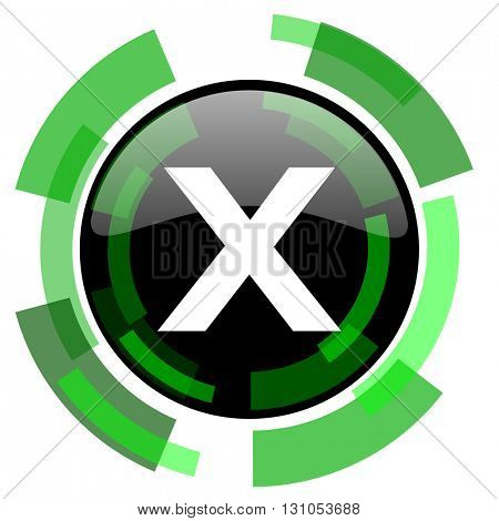 cancel icon, green modern design glossy round button, web and mobile app design illustration