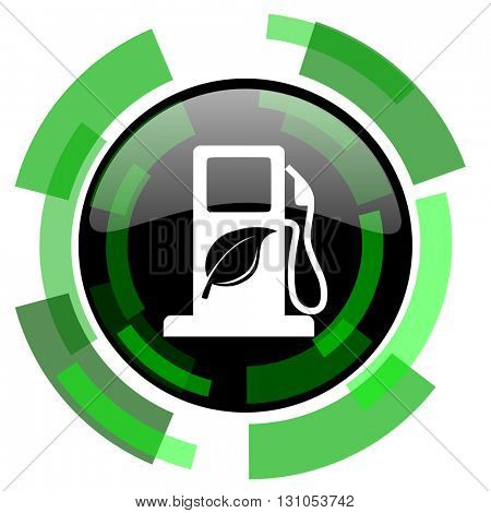 biofuel icon, green modern design glossy round button, web and mobile app design illustration