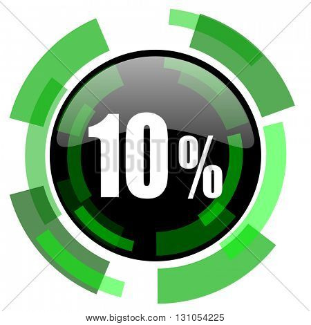 10 percent icon, green modern design glossy round button, web and mobile app design illustration