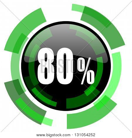80 percent icon, green modern design glossy round button, web and mobile app design illustration
