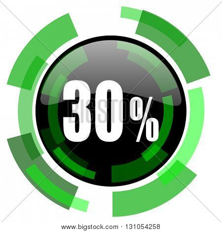 30 percent icon, green modern design glossy round button, web and mobile app design illustration