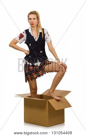 Woman with cardboard box isolated on white