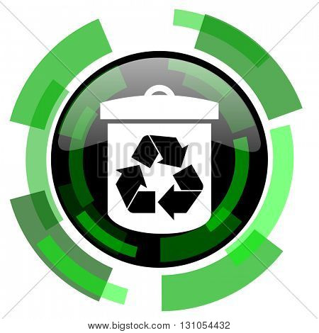 recycle icon, green modern design glossy round button, web and mobile app design illustration
