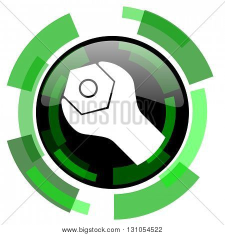tools icon, green modern design glossy round button, web and mobile app design illustration