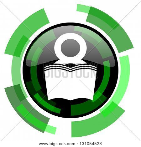 book icon, green modern design glossy round button, web and mobile app design illustration