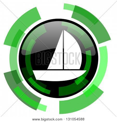 yacht icon, green modern design glossy round button, web and mobile app design illustration