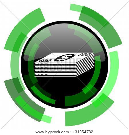 money icon, green modern design glossy round button, web and mobile app design illustration