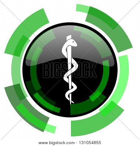 emergency icon, green modern design glossy round button, web and mobile app design illustration