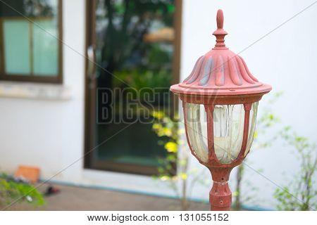 Old Lamp in the summer garden,mini garden