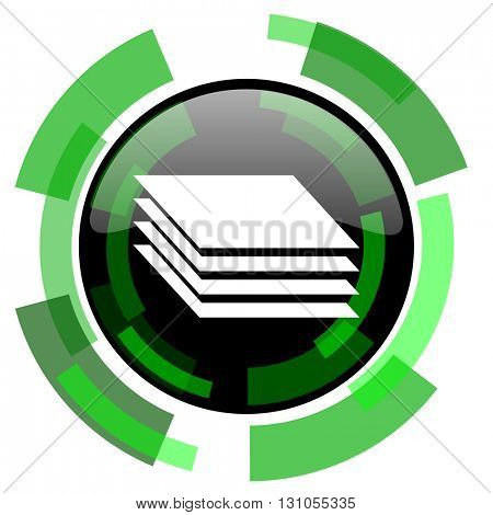 layers icon, green modern design glossy round button, web and mobile app design illustration