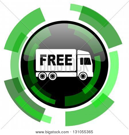 free delivery icon, green modern design glossy round button, web and mobile app design illustration