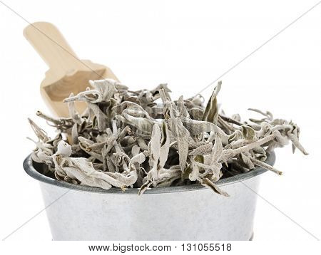 Dried Sage in Bucket Close up