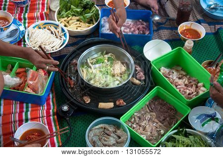 family food time : Tsukiyaki homemade in Thailand