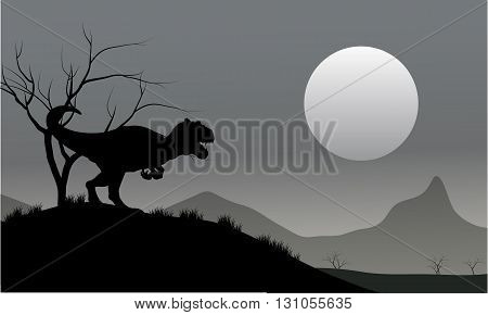 Silhouette of allosaurus with moon at the night