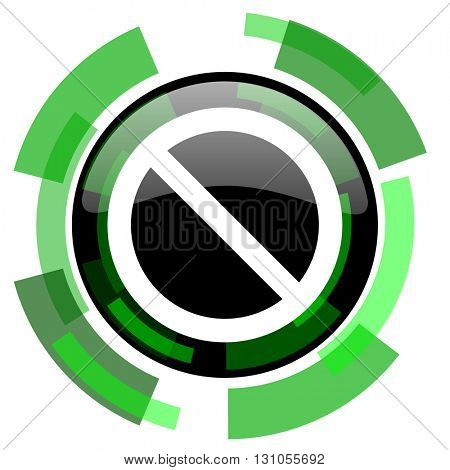 access denied icon, green modern design glossy round button, web and mobile app design illustration