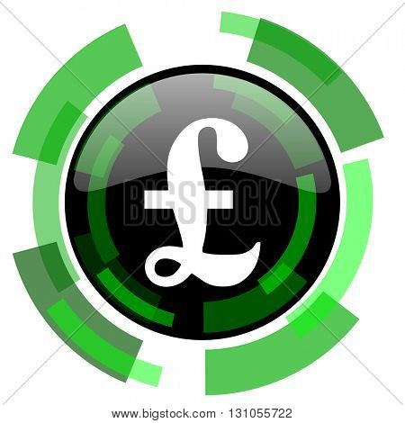 pound icon, green modern design glossy round button, web and mobile app design illustration