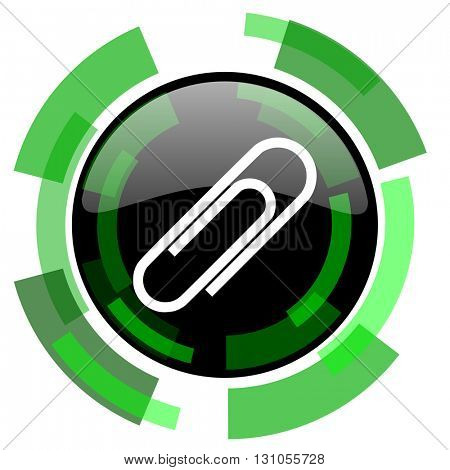 paperclip icon, green modern design glossy round button, web and mobile app design illustration