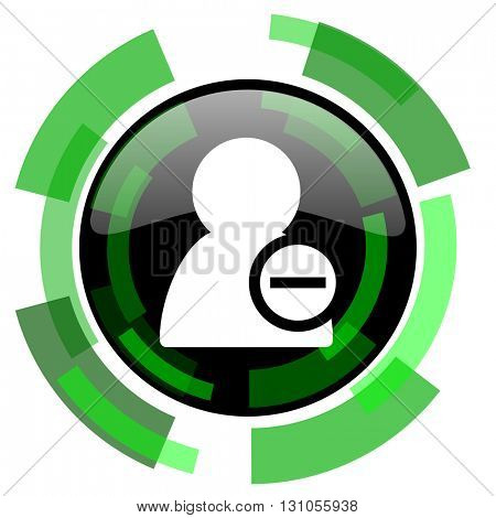 remove contact icon, green modern design glossy round button, web and mobile app design illustration