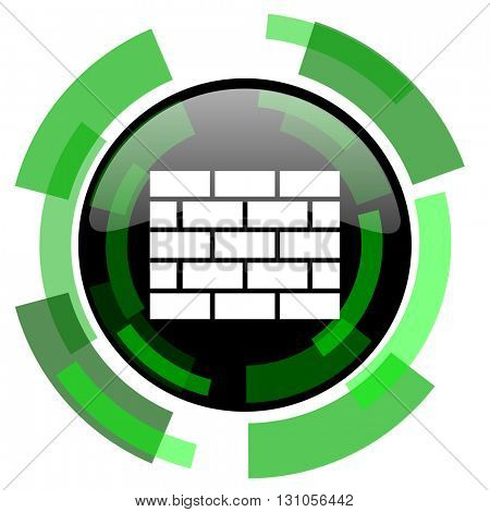 firewall icon, green modern design glossy round button, web and mobile app design illustration