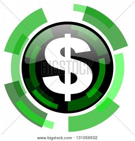 dollar icon, green modern design glossy round button, web and mobile app design illustration