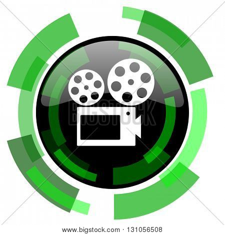 movie icon, green modern design glossy round button, web and mobile app design illustration