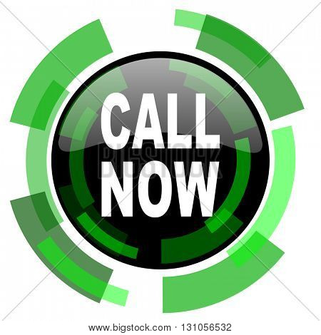 call now icon, green modern design glossy round button, web and mobile app design illustration